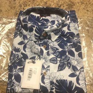 Untuckit shirt size XXL short sleeve blue/wht NWT